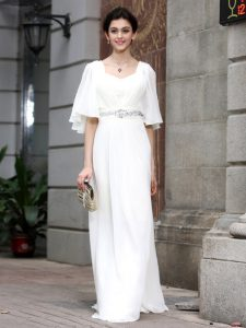 Floor Length Zipper Prom Gown White for Prom and Party with Beading