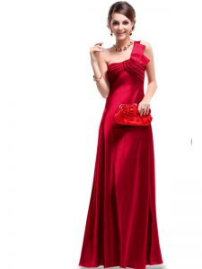 Wine Red Satin Criss Cross One Shoulder Sleeveless Floor Length Prom Evening Gown Ruching