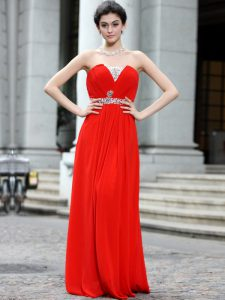 Spectacular Coral Red Silk Like Satin Zipper Strapless Sleeveless Floor Length Prom Party Dress Beading