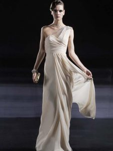Vintage Champagne Chiffon Criss Cross One Shoulder Sleeveless Floor Length Ruching