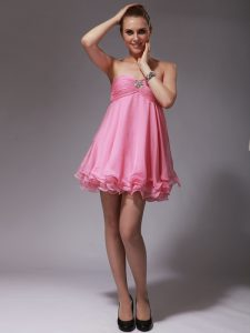 Sleeveless Chiffon Mini Length Zipper Prom Dresses in Rose Pink with Ruching