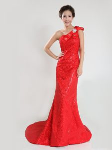Colorful One Shoulder Sleeveless Sequined Prom Dresses Sequins and Bowknot Sweep Train Zipper