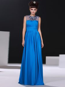 Scoop Blue Column/Sheath Beading and Ruching Prom Party Dress Zipper Silk Like Satin Sleeveless Floor Length
