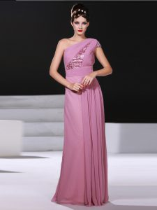 One Shoulder Lilac Column/Sheath Ruching Prom Evening Gown Criss Cross Chiffon Sleeveless
