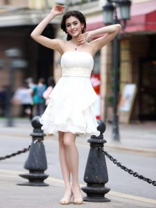 White Prom Party Dress Party with Beading Strapless Sleeveless Zipper