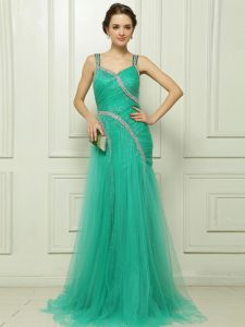 Dynamic Organza Straps Sleeveless Brush Train Side Zipper Beading and Ruching Dress for Prom in Turquoise