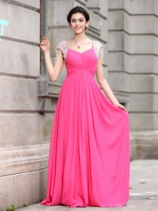 Hot Pink Zipper Prom Dress Beading Cap Sleeves Floor Length