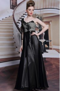 Adorable Black Side Zipper Asymmetric Beading and Appliques and Hand Made Flower Evening Dress Chiffon 3 4 Length Sleeve