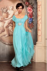 Off the Shoulder Floor Length Aqua Blue Chiffon Cap Sleeves Beading