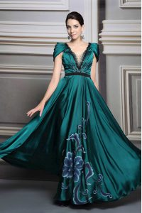 Dark Green Satin Zipper Prom Party Dress Short Sleeves Floor Length Beading and Embroidery and Belt