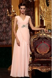Chiffon V-neck Cap Sleeves Side Zipper Beading and Embroidery and Ruching in Baby Pink