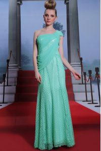 Chiffon One Shoulder Sleeveless Side Zipper Ruching Dress for Prom in Turquoise