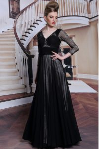 Chic Black Zipper Dress for Prom Beading 3 4 Length Sleeve Floor Length