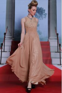 Traditional Sequins Scoop Sleeveless Clasp Handle Peach Chiffon