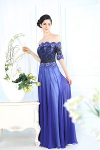 Flare Scalloped Half Sleeves Evening Dress Floor Length Beading and Appliques Blue Chiffon