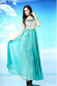 Glorious Scoop Sleeveless Pleated Side Zipper Prom Gown