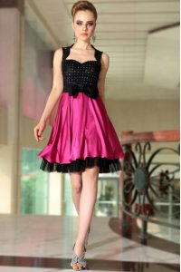 High End Pink And Black Prom Dress Prom and Party with Beading Straps Sleeveless Side Zipper
