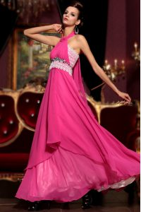 Customized Empire Homecoming Dress Hot Pink Halter Top Chiffon Sleeveless Floor Length Zipper