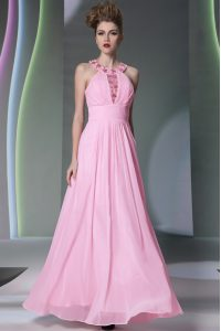 Halter Top Floor Length Side Zipper Prom Dress Rose Pink for Prom and Party with Beading