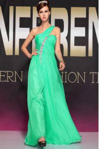 Sweet Turquoise Prom Party Dress Prom and Party with Beading and Ruching One Shoulder Sleeveless Backless