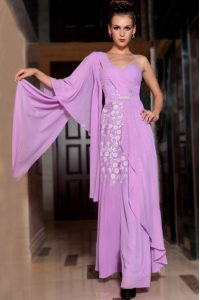Square Half Sleeves Side Zipper Prom Gown Lilac Chiffon