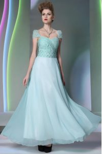 Hot Selling Floor Length Side Zipper Dress for Prom Light Blue for Prom and Party with Beading and Lace