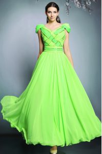 V-neck Short Sleeves Backless Celeb Inspired Gowns Chiffon
