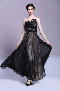 Fabulous Scoop Sleeveless Side Zipper Prom Evening Gown Black Chiffon