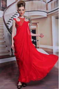 Scoop Sleeveless Prom Dresses Floor Length Beading and Appliques Red Chiffon