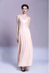Ideal Peach Sleeveless Pattern Floor Length Dress for Prom