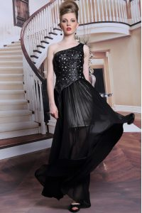 Clearance Floor Length Black Dress for Prom One Shoulder Sleeveless Side Zipper