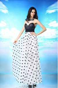 White And Black Column/Sheath Halter Top Sleeveless Chiffon Ankle Length Side Zipper Beading and Sequins and Ruching Prom Party Dress