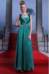 Custom Designed Column/Sheath Dress for Prom Peacock Green Sweetheart Elastic Woven Satin Sleeveless Ankle Length Zipper