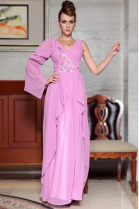 Colorful Lilac Column/Sheath Chiffon V-neck Long Sleeves Beading and Ruching and Pattern Ankle Length Side Zipper Dress for Prom