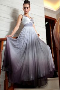 Customized Multi-color Chiffon Side Zipper Prom Gown Sleeveless Floor Length Beading and Appliques and Ruching