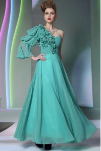 Wonderful Turquoise One Shoulder Neckline Ruffles and Ruching Prom Gown Long Sleeves Zipper