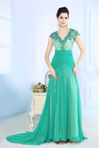 Luxurious Turquoise Chiffon Side Zipper V-neck Cap Sleeves With Train Prom Dresses Brush Train Beading and Lace and Ruching