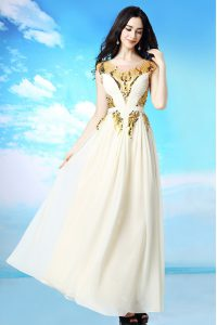 High End Scoop White Side Zipper Prom Dress Sequins and Ruching Cap Sleeves Ankle Length