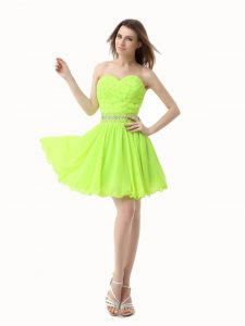 Sleeveless Knee Length Beading Zipper Prom Dresses with Green