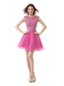 Scoop Sequins Pleated Rose Pink Cap Sleeves Chiffon Zipper Prom Evening Gown for Prom and Party