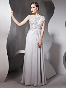 Silver Bateau Neckline Appliques and Ruching Evening Dress Cap Sleeves Side Zipper