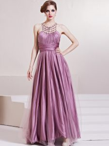 Decent Scoop Sleeveless Prom Party Dress Floor Length Beading and Ruching Lilac Taffeta
