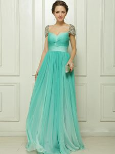 Turquoise Zipper Dress for Prom Beading and Ruching Cap Sleeves