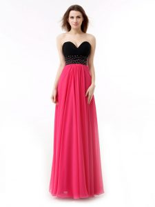 Adorable Chiffon Sweetheart Sleeveless Lace Up Beading and Ruffles Prom Party Dress in Pink And Black