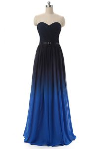 Blue And Black Empire Sweetheart Sleeveless Chiffon Floor Length Lace Up Ruching and Belt Prom Dress