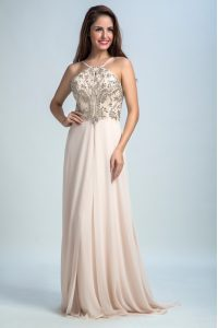 Modest Sleeveless Floor Length Sequins Backless Prom Gown with Pink