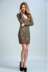 Eye-catching Brown V-neck Neckline Sequins Dress for Prom Long Sleeves Backless