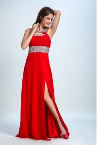 Beading Prom Dress Red and Coral Red Zipper Sleeveless Floor Length