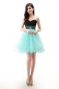 Blue And Black Sleeveless Mini Length Lace Zipper Prom Dresses