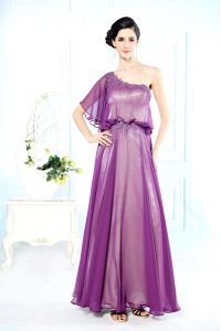 Decent One Shoulder Half Sleeves Floor Length Beading Side Zipper Prom Evening Gown with Purple
